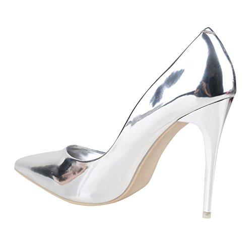 Elegante Damen High Heels Spitze Pumps Lack Metallic Schuhe Stiletto Samt Glitzer Nieten Abendschuhe Business Schuhe Flandell Silber Lack