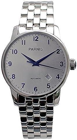 PARNIS Unisexe Montre Automatique 3220Verre Saphir Miyota Montre bracelet argenté Ø 38mm bleui