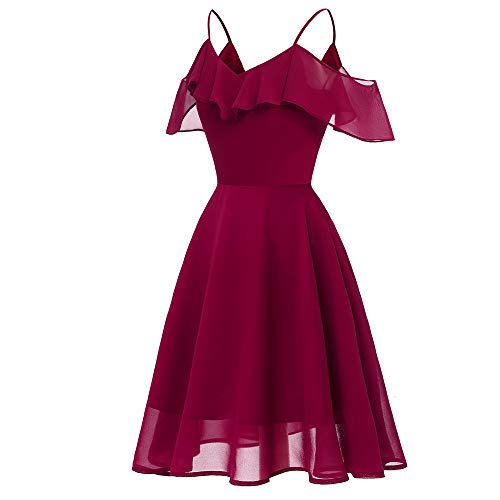 leider Elegant Cocktailkleid Maxikleid Lang Party Kleid Frauen Vintage Princess Floral Lace Cocktail V-Ausschnitt Party Aline Swing Kleid (Wein Rot,S) ()