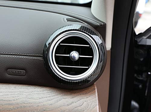 Topauto TOP-Auto Carbon Fiber Style ABS Chrome Side Air Conditioning Vent Ring Cover Trim Trim 2 Pcs for Mercedes Benz E-Klasse W213 2016 2017 (2 Vent Top)