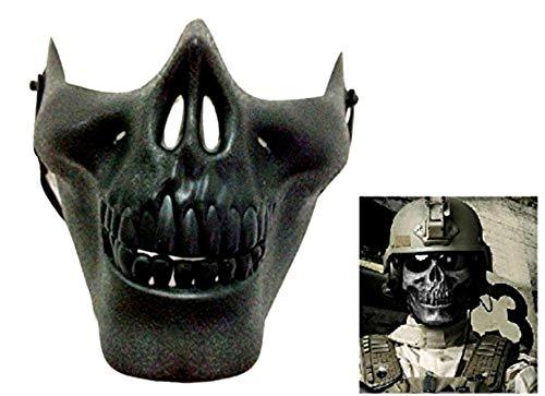 Maschera militare per costume - travestimento - carnevale - halloween - cs - counterstrike - scheletro - mezzo teschio - ossa - us army - nero - adulti - uomo - idea regalo natale compleanno