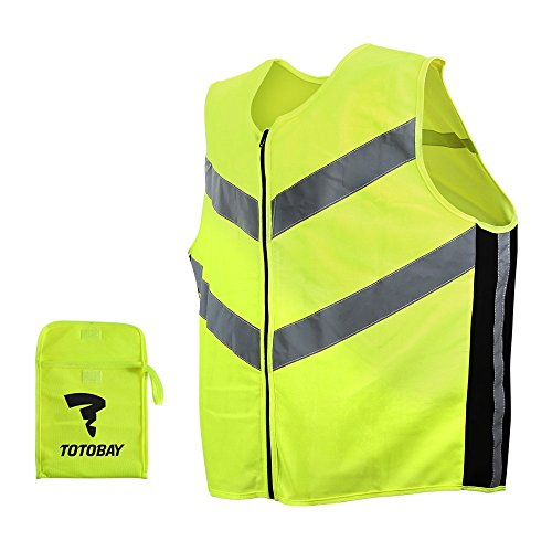 Ultra Sport Weste TOTOBAY Reflektierende Joggingweste mit YKK Zipper Atmungsaktive Softe Warnweste Leicte Sicherheitsweste für Sport Joggen Laufen Radfahren Auch in der Nacht