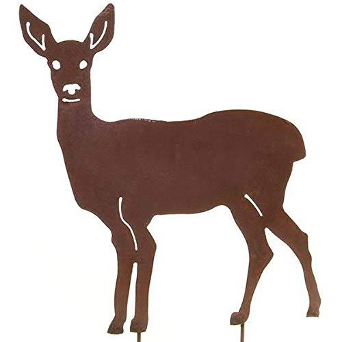 Wunderschöner & Hochwertiger Gartenstecker - Tier Figur - Rost Stecker/Tierfigur - Große Auswahl - Edelrost Gartenfigur - Metall Gartendeko (REH - Länge 70cm)