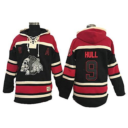 Yajun Kapuzen Pullover Hoodie NHL Bobby Hull # 9 Chicago Blackhawks Sweatshirt Atmungsaktives Langarm Herren T-Shirt Trendige Eishockey Trikots,Black,L -