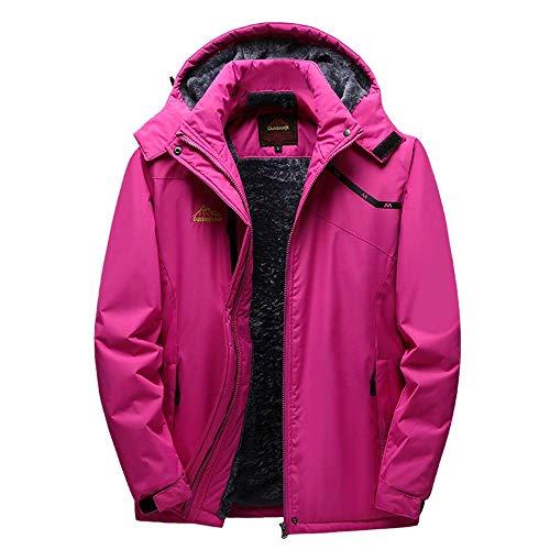 (Qiusa Womens Winter Outdoor Cashmere Verdickung Hoodie Sport Outdoor Assault Coat (Farbe : Hot Pink, Größe : XXL))