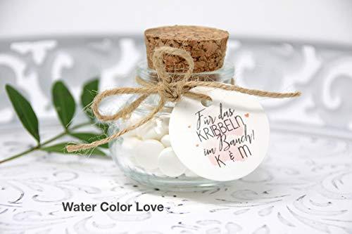 Korkenglas Gastgeschenke zur Hochzeit Geschenke für Gäste Verpackung - viele Motive zur Auswahl personalisiert mit Namen des Brautpaares