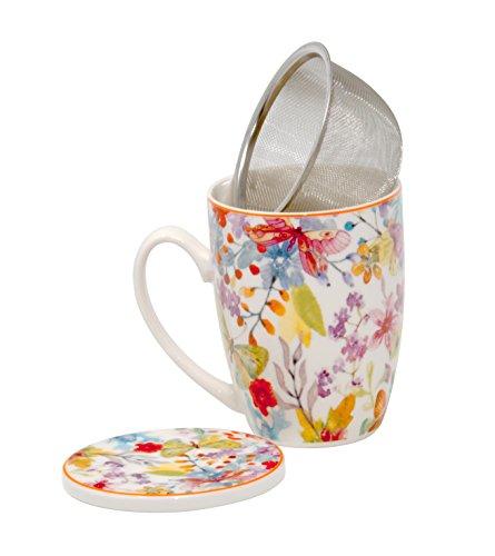 Duo Tee-Tasse Teebecher Set mit Metallsieb und Deckel Porzellan Teetasse Geschenk-Tasse Cup with Infuser 320 ml Geschenkbox