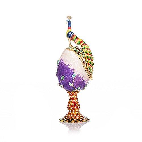 QIFU - Œuf de paon peint à la main et émaillé, style Fabergé - Boîte décorative à charnière...