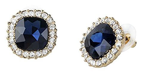 niceeshop(TM) 1 Pair Vintage Royal Style Small Square Crystal Diamond Gemstone Stud Earrings-Royal Blue