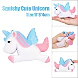 Bluestercool Funny Unicorn Stress Reliever, Squishy Slow Rising Squeeze Toy Gift (White)