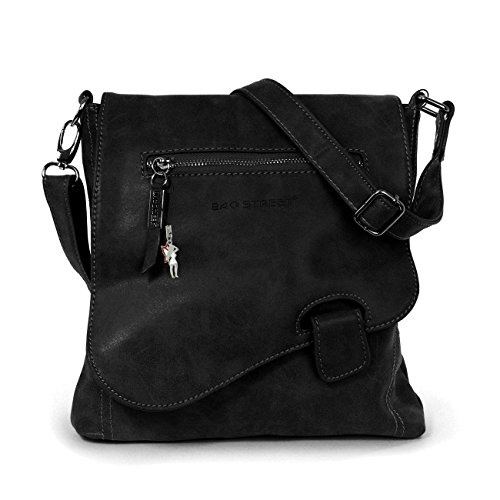 Schultertasche Handtasche Umhängetasche Shopper Tasche Bag Street (Schwarz)