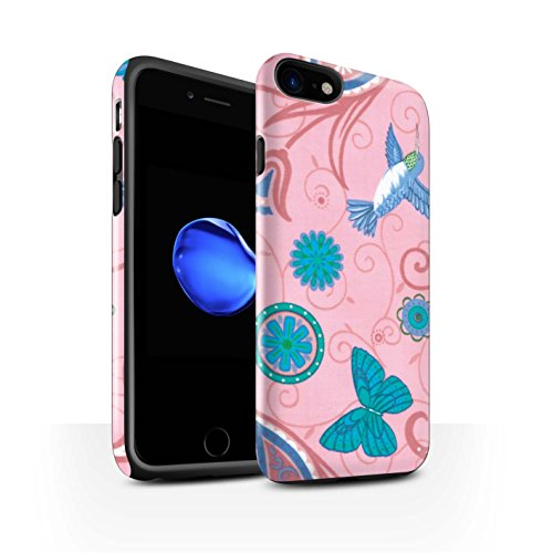STUFF4 Glanz Harten Stoßfest Hülle / Case für Apple iPhone 8 / Grün/Rot Muster / Frühlingszeit Kollektion Rosa/Blau