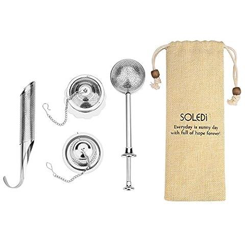 Soledi Tea Strainer 4 Pack Stainless Steel Tea Infuser Filters