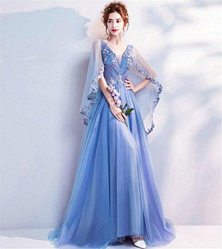 ELEGENCE-Z Hochzeitskleid, Romantischen Blauen Tiefen V-Ausschnitt Handbestickte Spitze Schleier...