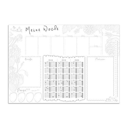 Schreibtischunterlage Meine Woche mit 3-Jahres-Kalender, Notiz-Fläche, Anrufliste I DIN A2 Schreib-Unterlage aus Papier zum Abreißen I dv_027 (Grau Schreibunterlage)