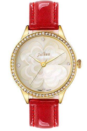 JULIUS JA-803B quadrifoglio da donna in madreperla, orologi, in pelle, colore: rosso - 20 Diamanti Womens Watch