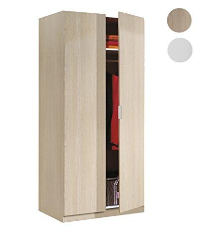 Habitdesign LCX022R - Armario dos puertas, color Roble, medidas: 180 x 81 x 52 cm de fondo
