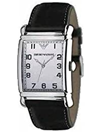 a79383ea6b05 Armani correa de reloj AR-0233 Piel Negro 26mm + costura blanca(Sólo reloj