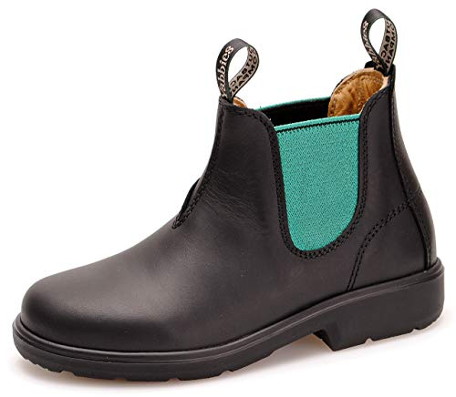Yabbies for Kids Leder Boots Schuhe für Kinder Stiefelette – Black/Jade + Lederwax von Solitaire (UK 02 / EU 34.5)
