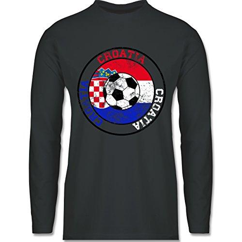 Shirtracer Fußball-WM 2018 - Russland - Croatia Kreis & Fußball Vintage - Herren Langarmshirt Dunkelgrau