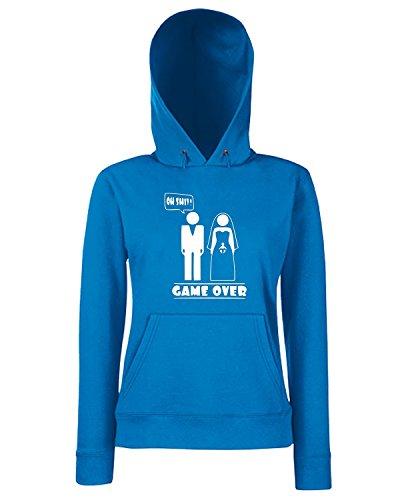 T-Shirtshock - Sweats a capuche Femme MAT0066 Oh Shit Game Over Maglietta Bleu Royal