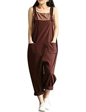 Ba Zha Hei-Pantalones de mujer, Pantalones para Mujer Suelta Mono Correa cinturón Babero Pantalones Pantalones...