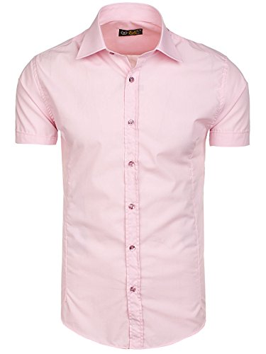 ... BOLF Herren Freizeithemd Kurzarm Hemd Herrenhemd Slim Fit Party 2B2  Casual Rosa 7501 ... 12995140bb