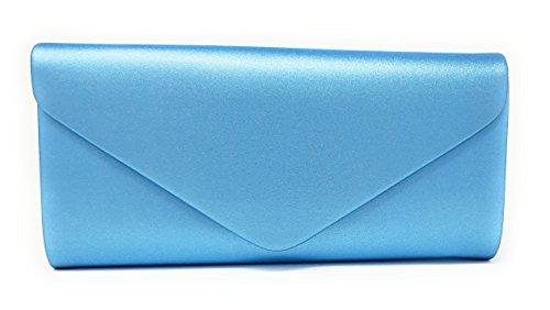 malito Damen Clutch   Abendtasche mit Kette   Unterarmtasche   Handtasche - Citybag - Tasche T400 (hellblau 2)