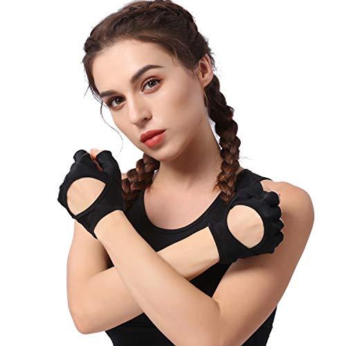 Preisvergleich Produktbild Sport-Trainingshandschuhe Handgelenkstütze Fitness,  Gewichtheben,  Fitnesstraining & Powerlifting - Polsterung,  keine Schwielen - Frauen,  starker Griff 1 Paar (Color : Pink,  Size : M / L)