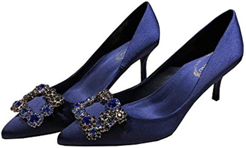 Eeayyygch Chaussures Pointu 6.5cm, 8.5cm Satin Bleu Strass Pointu Chaussures Talons, Simples Dames, Bouche Shallow Bouche Boucle...B07JX85GM2Parent c076b2