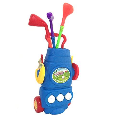 Kinder Golf, Lommer 11Pcs Golf Kinder Set mit 3 Golfschläger, 2 Löcher, 3 Bälle und 2 Flaggen Drinnen Draußen Golf Sports Toy Set für Kinder (Blau)