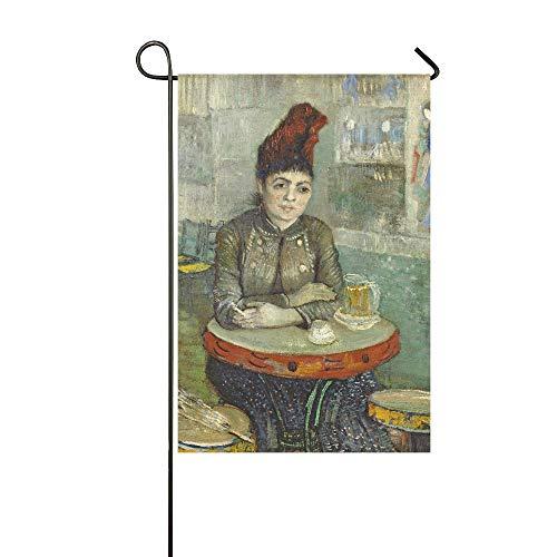 Home Dekorative Outdoorflagge Agostina Segatori sitzt im Cafe Du Tambourin, Garten-Flagge, Garten-Hof-Dekorationen, saisonale Willkommen-Outdoor-Flagge, 30,5 x 45,7 cm, Frühlings-Sommer-Geschenk