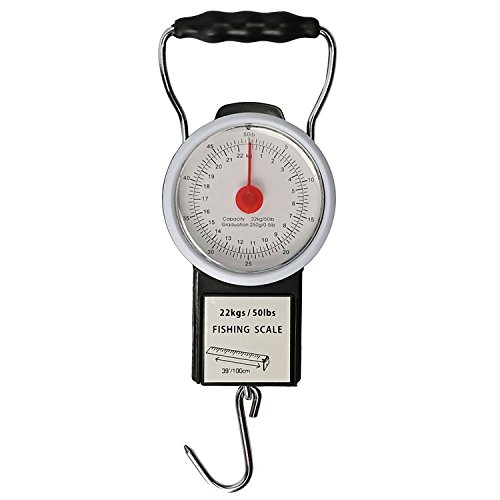 Goture, bilancia digitale sospesa, pesa pesci, con metro a nastro incorporato (22 kg) (lingua italiana non garantita), fishing scales with 1m tape measure