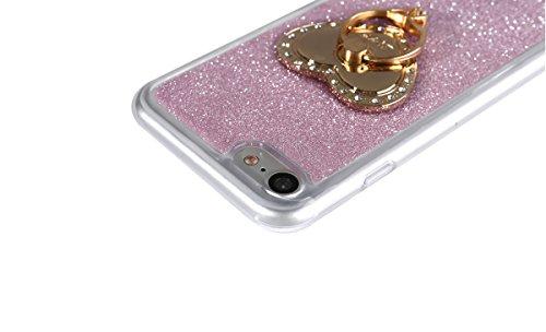 """iPhone 7 Handyhülle, Bling Glitzer Funkeln CLTPY iPhone 7 Durchsichtig Dünne Matte Gel Cover Schlanke Hybrid Stoßdämpfende & Kratzfeste Gummi Case mit Kippständer für 4.7"""" Apple iPhone 7 + 1 x Schreib Rose mit Ring"""