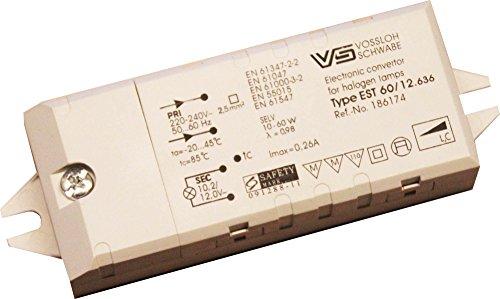 Integrierte Halogen Beleuchtung (Vossloh VS Trafo 10 bis 60 Watt elektronisch für LED und Halogen 12 Volt Möbeleinbau MM-Zeichen)