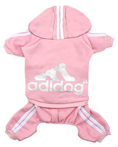 Rdc Pet Adidog Dog Hoodies, Clothes,Fleece Jumpsuit Warm Sweater,4 Legs Cotton Jacket Sweat Shirt Coat for Small Dog Medium Dog Large Dog (Pink,XL)