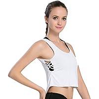 Deporte De Las Mujeres Fitness Navel Tanque De Secado Rápido Entrenamiento Profesional Yoga Fitness Sports Loose Smock,White,XL