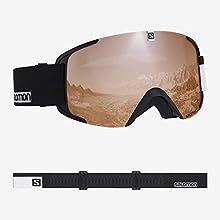 Salomon Xview Access, Unisex Ski Goggles, Black-White/Universal Tonic Orange, L40518600