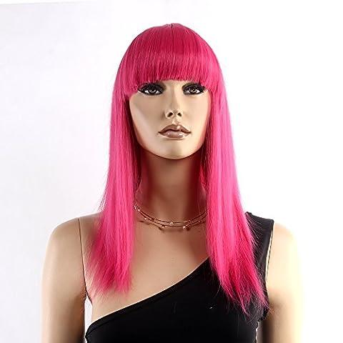 stfantasy Perücken für Frauen lange Gerade Hitzebeständiges Synthetikhaar 53,3cm 174g mit Pony Wig peluca frei Hair Net + Clips, Hot (Hot Pink Thread)