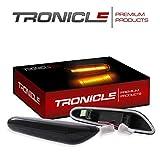 Tronicle Hochwertige LED Seitenblinker passgenau für Ihr Fahrzeug in Chrom klar oder Schwarz Smoke mit Dichtungslippe für eine Aufwertende Front. (Schwarz)