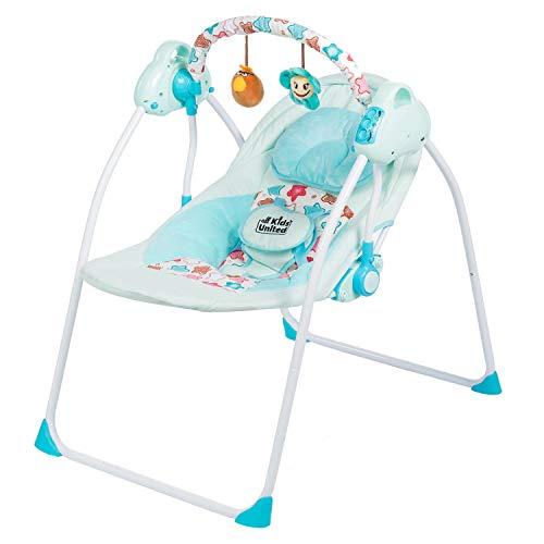 all kids United Elektrische Babyschaukel - Baby-Wippe vollautomatisch Schaukelwippe mit Fernbedienung
