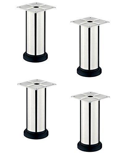 Gedotec DESIGN Möbelfuß LISA verstellbar Sockelfuß Verstellfüße aus Stahl | Höhe 200 mm | mit Höheneinstellung + 20 mm | Chrom poliert | 4er Set