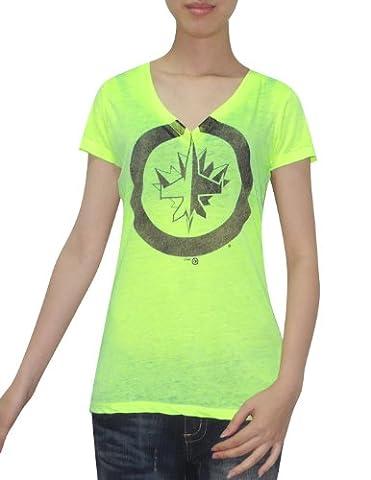 NHL Winnipeg Jets Damen V-Neck T-Shirt (Vintage-Look) M grün fluoreszierend