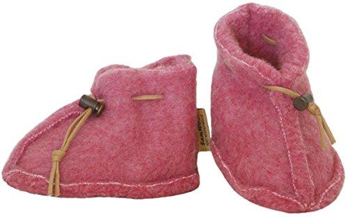 SamWo Chaussures bébé 100 % Laine de mouton naturelle avec fermeture rapide rose
