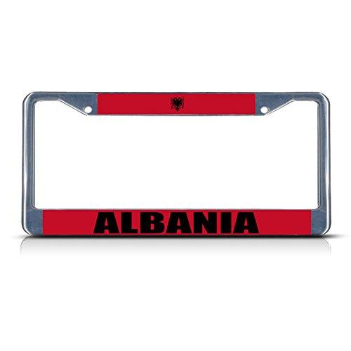 Albanien-Flagge, Metall, für Nummernschild, Rahmen mit Zwei Löchern, perfekt für Herren und Damen, Auto-Garadge (Nummernschild Sts)