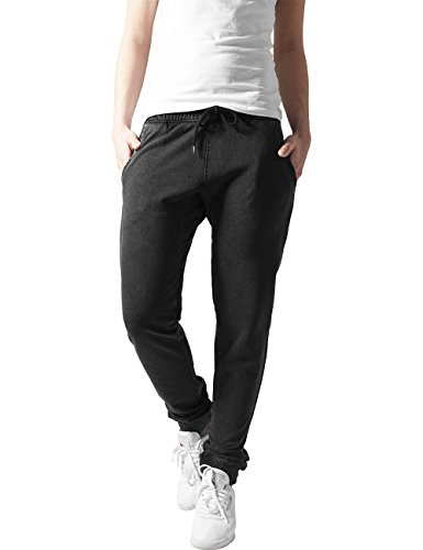 French Terry Classic Fit Pant (Urban Classics Damen Ladies Acid Wash Jogging Pants Short, Grau (darkgrey 94), W38 (Herstellergröße: M))