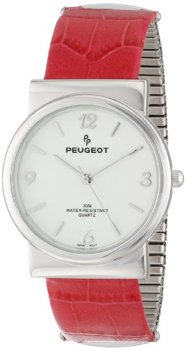 Peugeot Women's PQ2707-PK Silver-Tone Pink Leather And Expansion Bracelet Watch