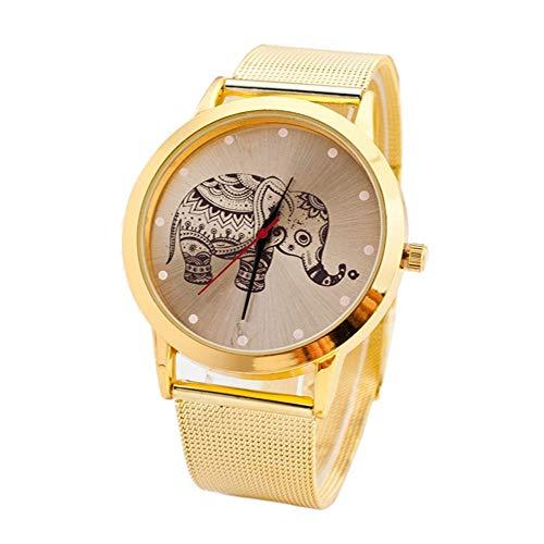 ZXMBIAO Armbanduhr Goldene Elefant-Quarz-Edelstahl-Uhr Keine Uhr Der Wasserdichten Analogen Quarz-Frauen, Gold