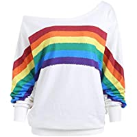 Damen T Shirt,Geili Frauen Regenbogen-Druck Lange Hülsen Kalte Schulter T-Shirt Damen Lose Casual Pullover Bluse... preisvergleich bei billige-tabletten.eu