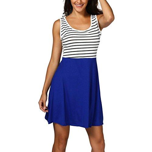 Elfenbein Ballon Gelb (MRULIC Damen Gestreift Boho Maxi Dress Sleeveless Casual Beach Vest Sundress(Blau,EU-40/CN-L))